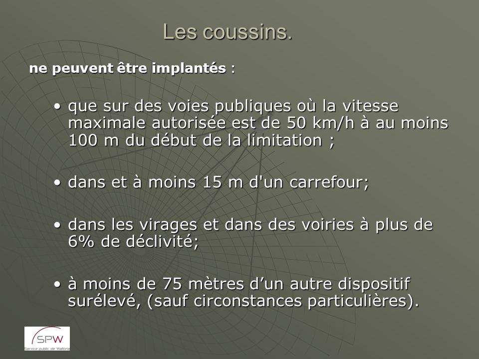 Les coussins. ne peuvent être implantés : que sur des voies publiques où la vitesse maximale autorisée est de 50 km/h à au moins 100 m du début de la