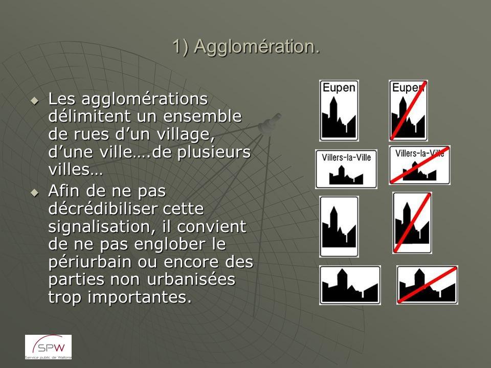 1) Agglomération. Les agglomérations délimitent un ensemble de rues dun village, dune ville….de plusieurs villes… Les agglomérations délimitent un ens