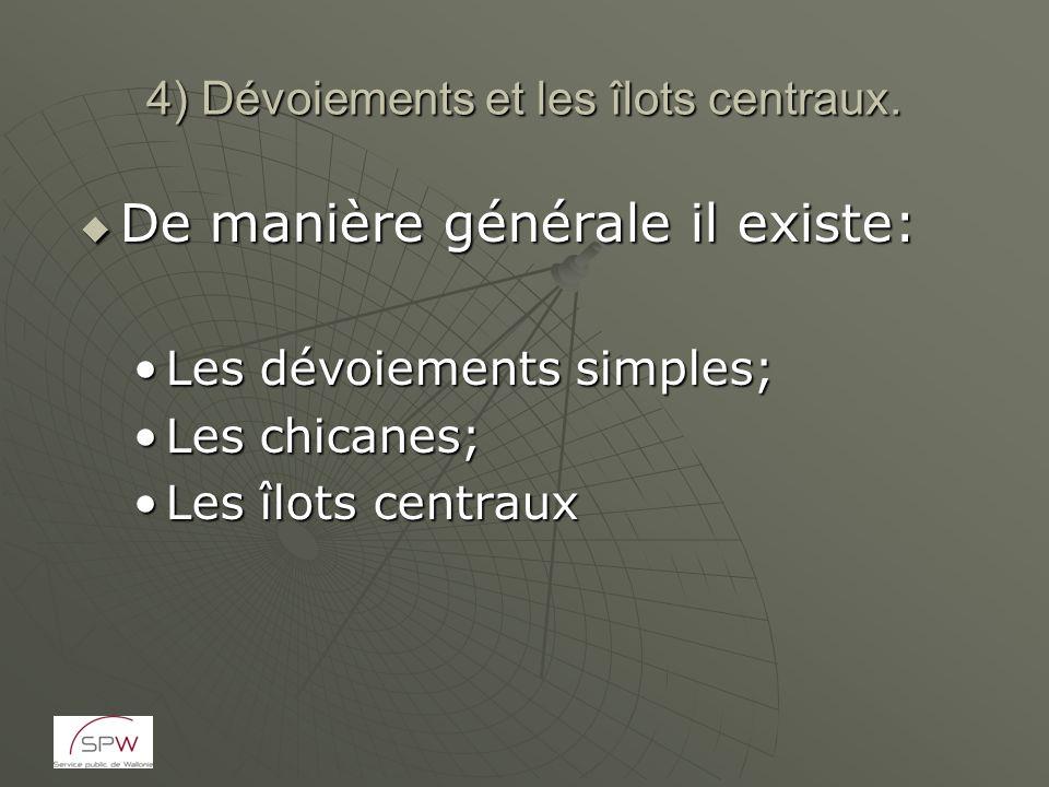 4) Dévoiements et les îlots centraux. De manière générale il existe: De manière générale il existe: Les dévoiements simples;Les dévoiements simples; L