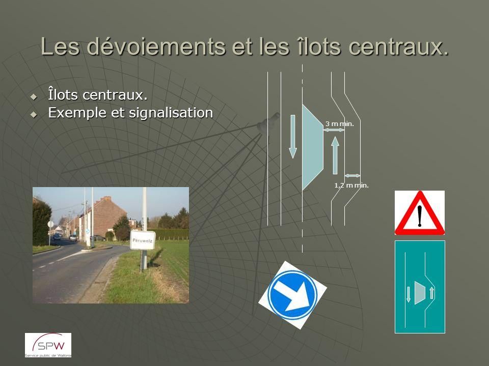 Les dévoiements et les îlots centraux. Îlots centraux. Îlots centraux. Exemple et signalisation Exemple et signalisation 3 m min. 1,2 m min.
