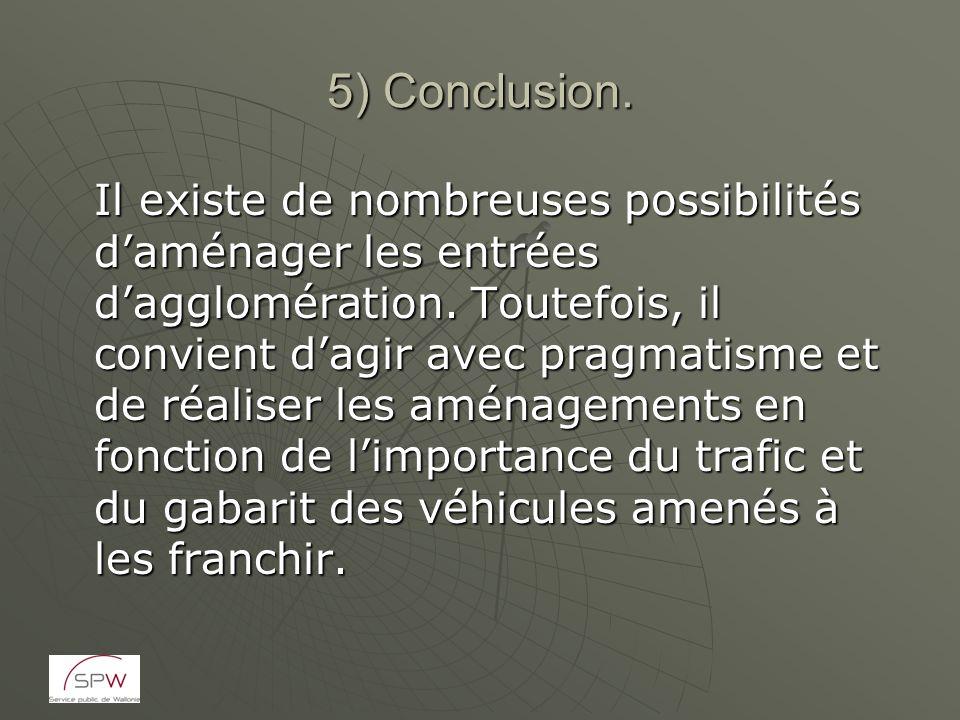 5) Conclusion. Il existe de nombreuses possibilités daménager les entrées dagglomération. Toutefois, il convient dagir avec pragmatisme et de réaliser