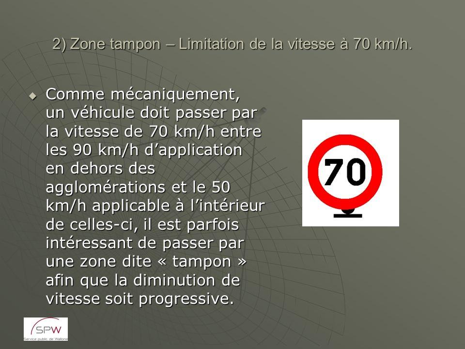 2) Zone tampon – Limitation de la vitesse à 70 km/h. Comme mécaniquement, un véhicule doit passer par la vitesse de 70 km/h entre les 90 km/h dapplica
