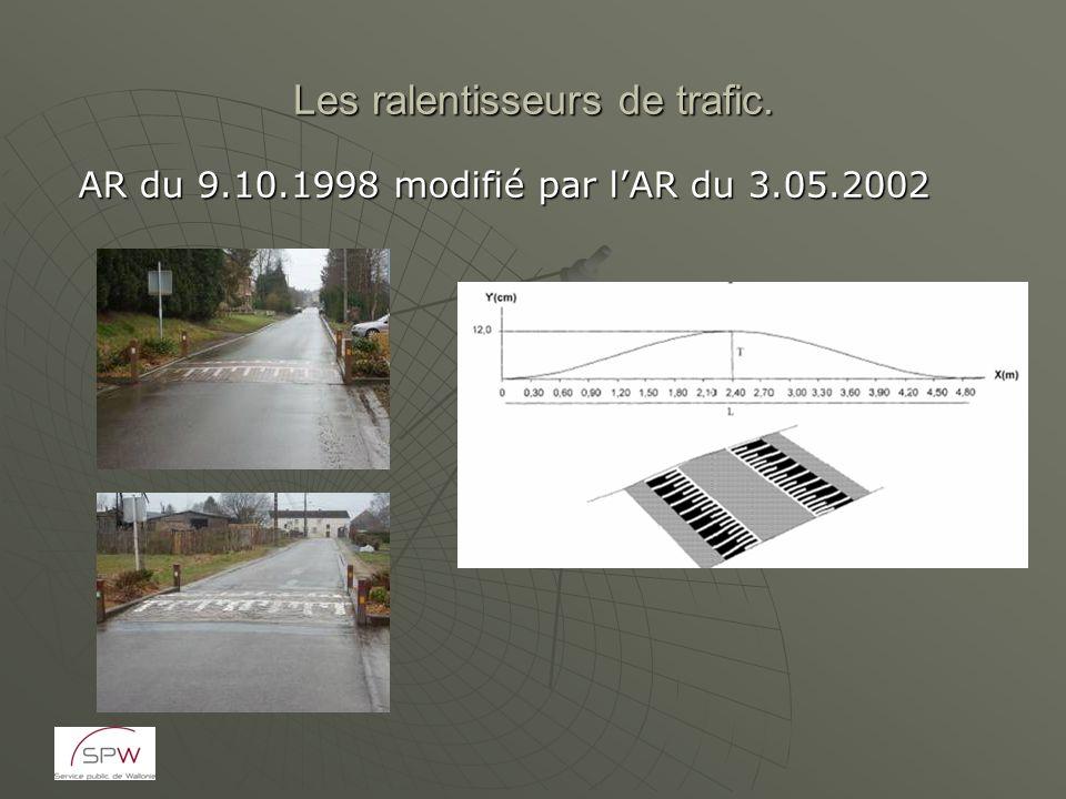 Les ralentisseurs de trafic. AR du 9.10.1998 modifié par lAR du 3.05.2002