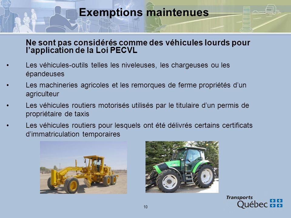 10 Exemptions maintenues Ne sont pas considérés comme des véhicules lourds pour lapplication de la Loi PECVL Les véhicules-outils telles les niveleuse