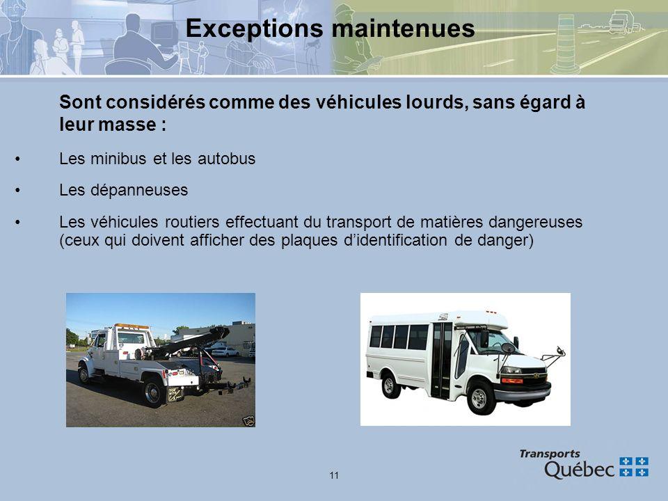 11 Exceptions maintenues Sont considérés comme des véhicules lourds, sans égard à leur masse : Les minibus et les autobus Les dépanneuses Les véhicule