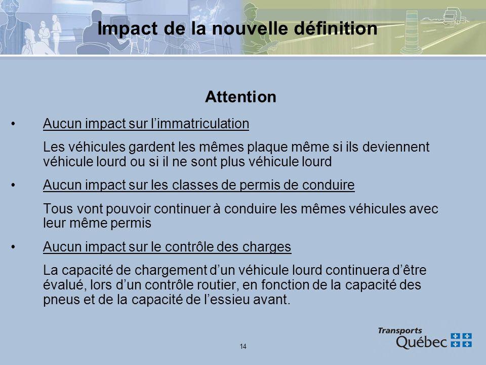 14 Impact de la nouvelle définition Attention Aucun impact sur limmatriculation Les véhicules gardent les mêmes plaque même si ils deviennent véhicule