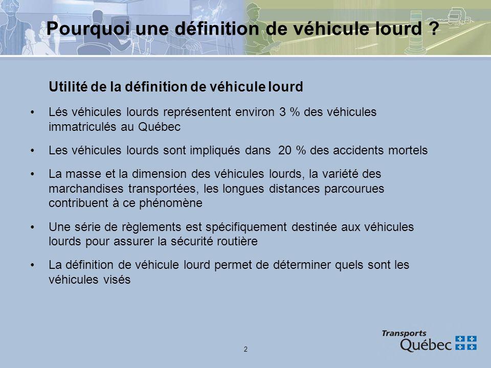 2 Pourquoi une définition de véhicule lourd ? Utilité de la définition de véhicule lourd Lés véhicules lourds représentent environ 3 % des véhicules i