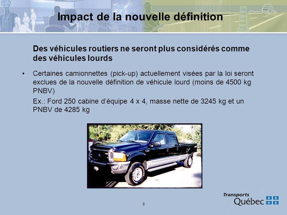 8 Impact de la nouvelle définition Des véhicules routiers ne seront plus considérés comme des véhicules lourds Certaines camionnettes (pick-up) actuel