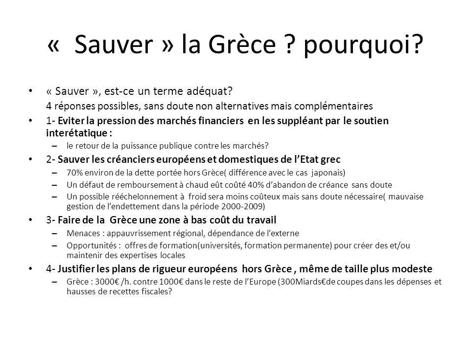 « Sauver » la Grèce ? pourquoi? « Sauver », est-ce un terme adéquat? 4 réponses possibles, sans doute non alternatives mais complémentaires 1- Eviter