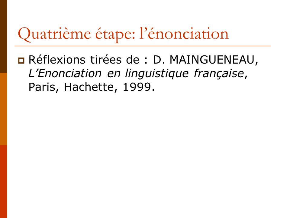 Quatrième étape: lénonciation Réflexions tirées de : D. MAINGUENEAU, LEnonciation en linguistique française, Paris, Hachette, 1999.