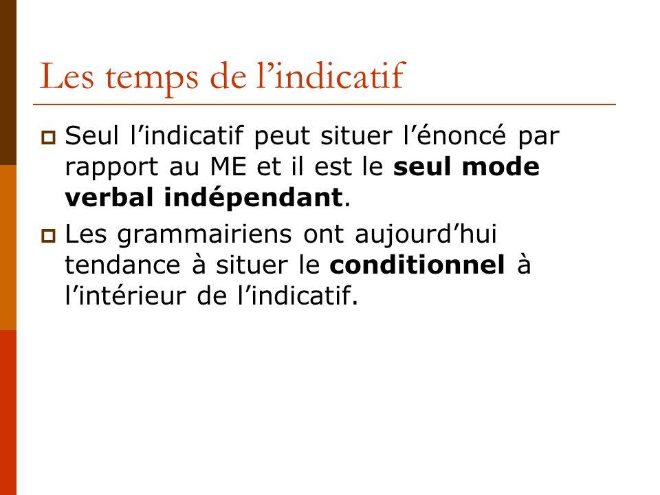 Les temps de lindicatif Seul lindicatif peut situer lénoncé par rapport au ME et il est le seul mode verbal indépendant. Les grammairiens ont aujourdh