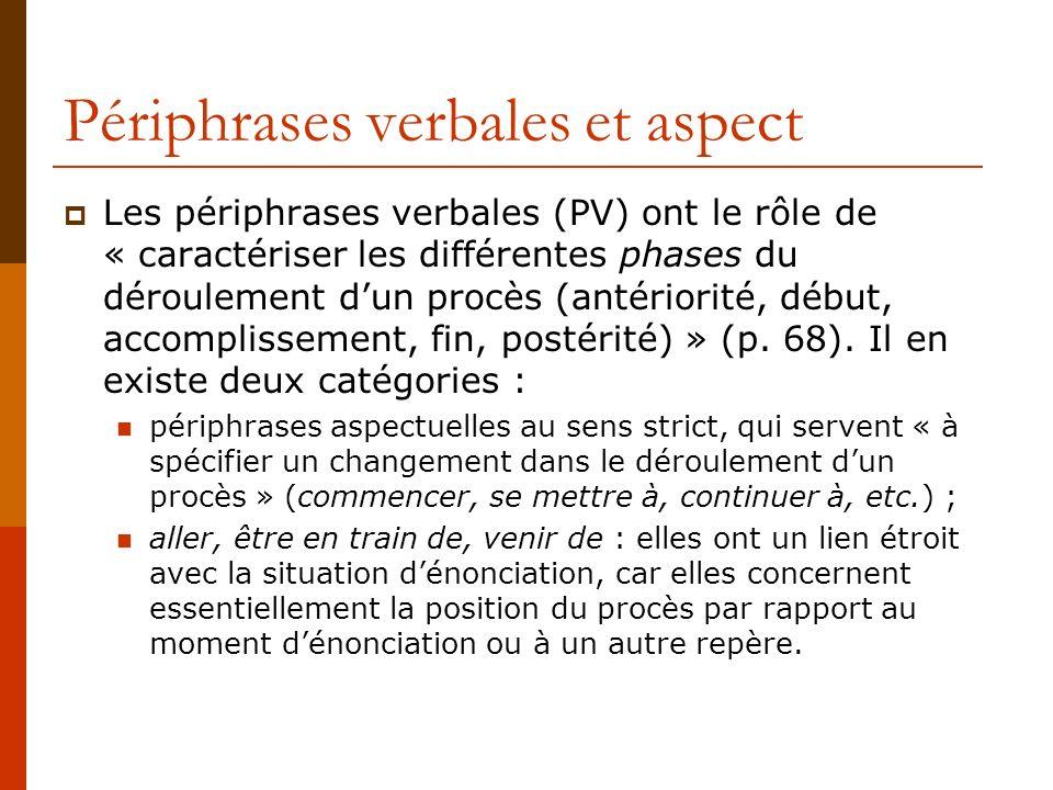 Périphrases verbales et aspect Les périphrases verbales (PV) ont le rôle de « caractériser les différentes phases du déroulement dun procès (antériori