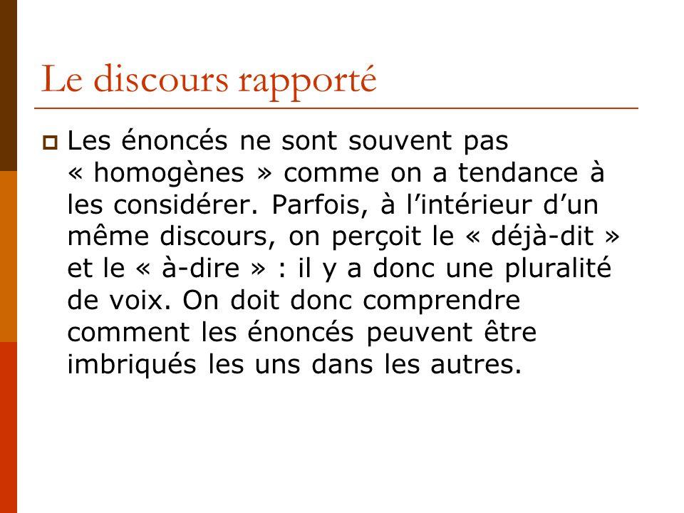 Le discours rapporté Les énoncés ne sont souvent pas « homogènes » comme on a tendance à les considérer. Parfois, à lintérieur dun même discours, on p