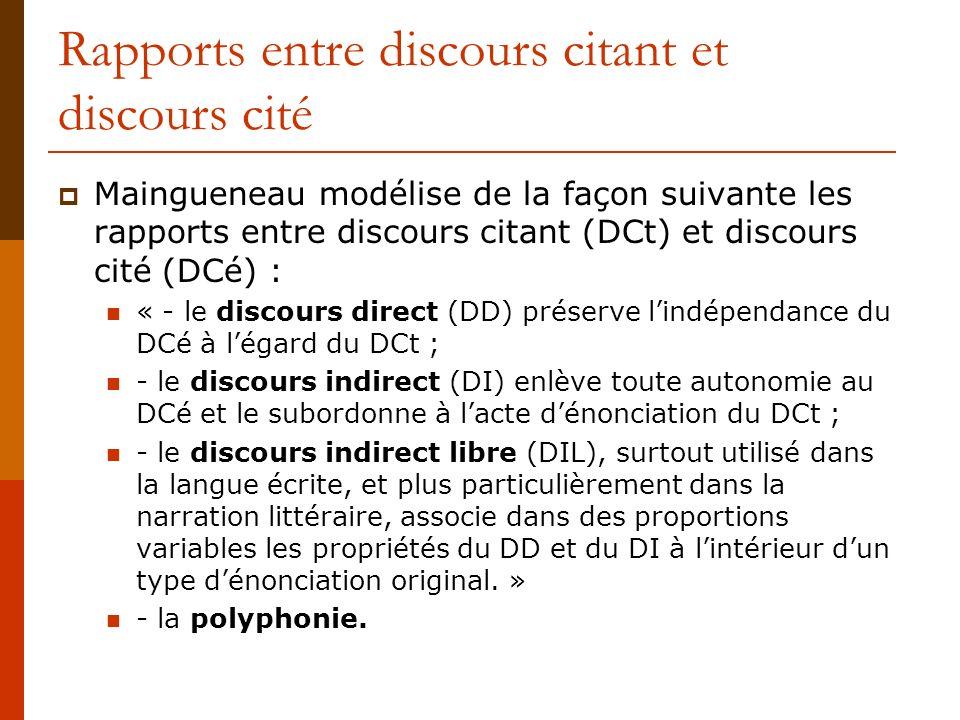 Rapports entre discours citant et discours cité Maingueneau modélise de la façon suivante les rapports entre discours citant (DCt) et discours cité (D