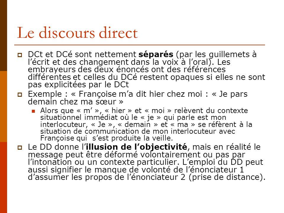 Le discours direct DCt et DCé sont nettement séparés (par les guillemets à lécrit et des changement dans la voix à loral). Les embrayeurs des deux éno