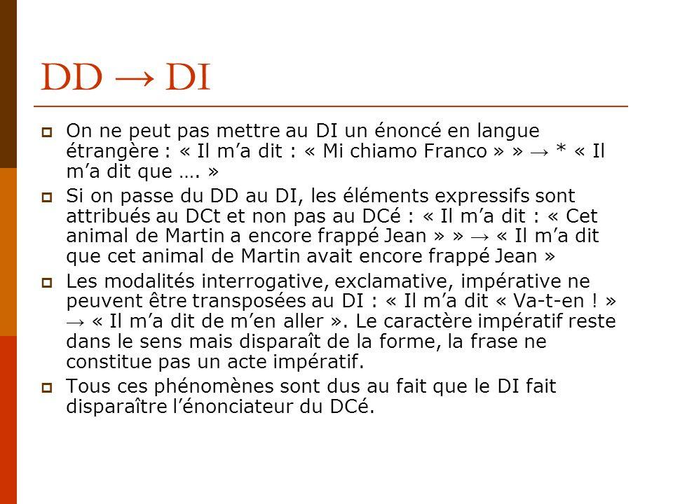 DD DI On ne peut pas mettre au DI un énoncé en langue étrangère : « Il ma dit : « Mi chiamo Franco » » * « Il ma dit que …. » Si on passe du DD au DI,