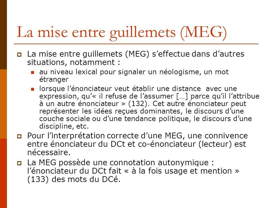 La mise entre guillemets (MEG) La mise entre guillemets (MEG) seffectue dans dautres situations, notamment : au niveau lexical pour signaler un néolog
