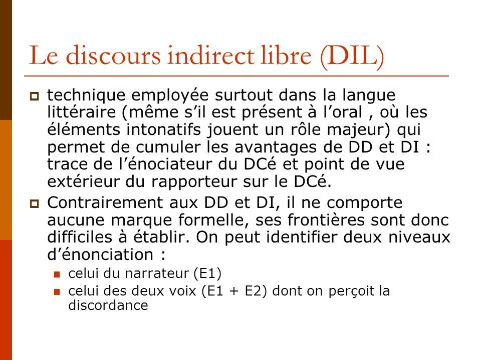 Le discours indirect libre (DIL) technique employée surtout dans la langue littéraire (même sil est présent à loral, où les éléments intonatifs jouent