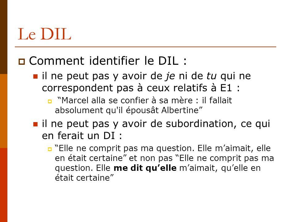 Le DIL Comment identifier le DIL : il ne peut pas y avoir de je ni de tu qui ne correspondent pas à ceux relatifs à E1 : Marcel alla se confier à sa m