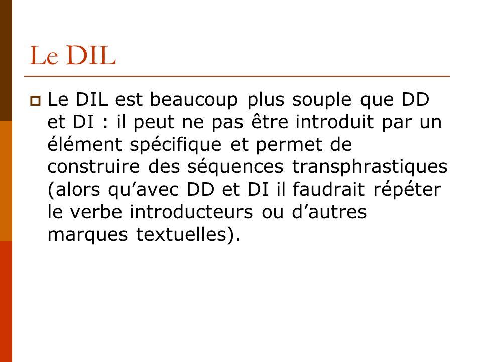 Le DIL Le DIL est beaucoup plus souple que DD et DI : il peut ne pas être introduit par un élément spécifique et permet de construire des séquences tr