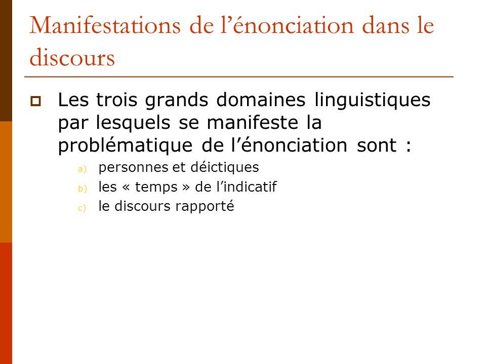 Manifestations de lénonciation dans le discours Les trois grands domaines linguistiques par lesquels se manifeste la problématique de lénonciation son