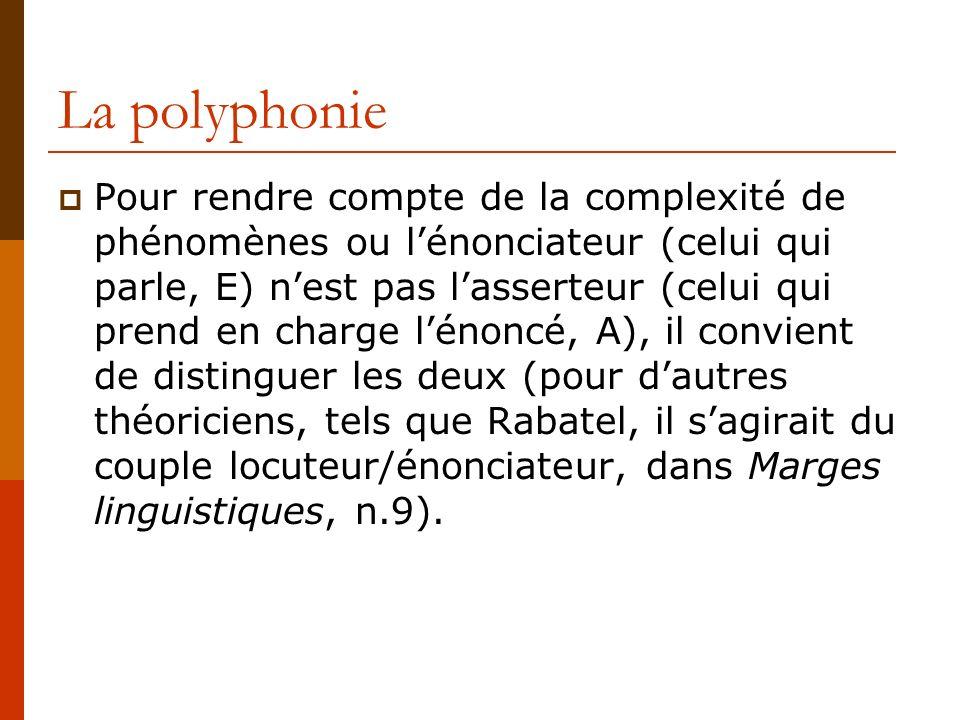 La polyphonie Pour rendre compte de la complexité de phénomènes ou lénonciateur (celui qui parle, E) nest pas lasserteur (celui qui prend en charge lé
