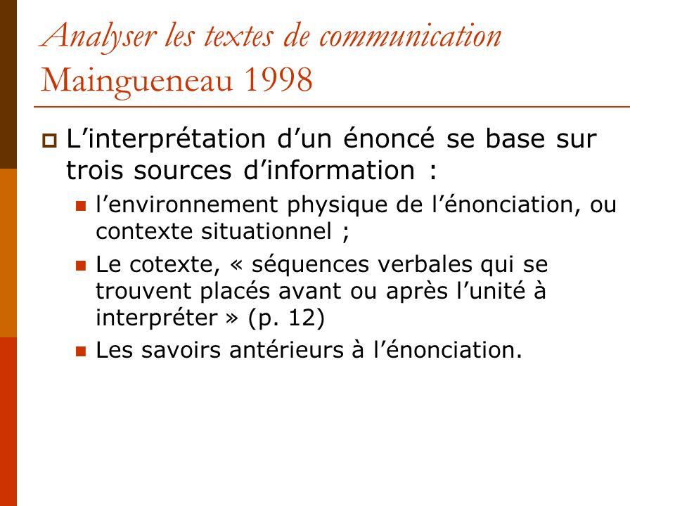Analyser les textes de communication Maingueneau 1998 Linterprétation dun énoncé se base sur trois sources dinformation : lenvironnement physique de l