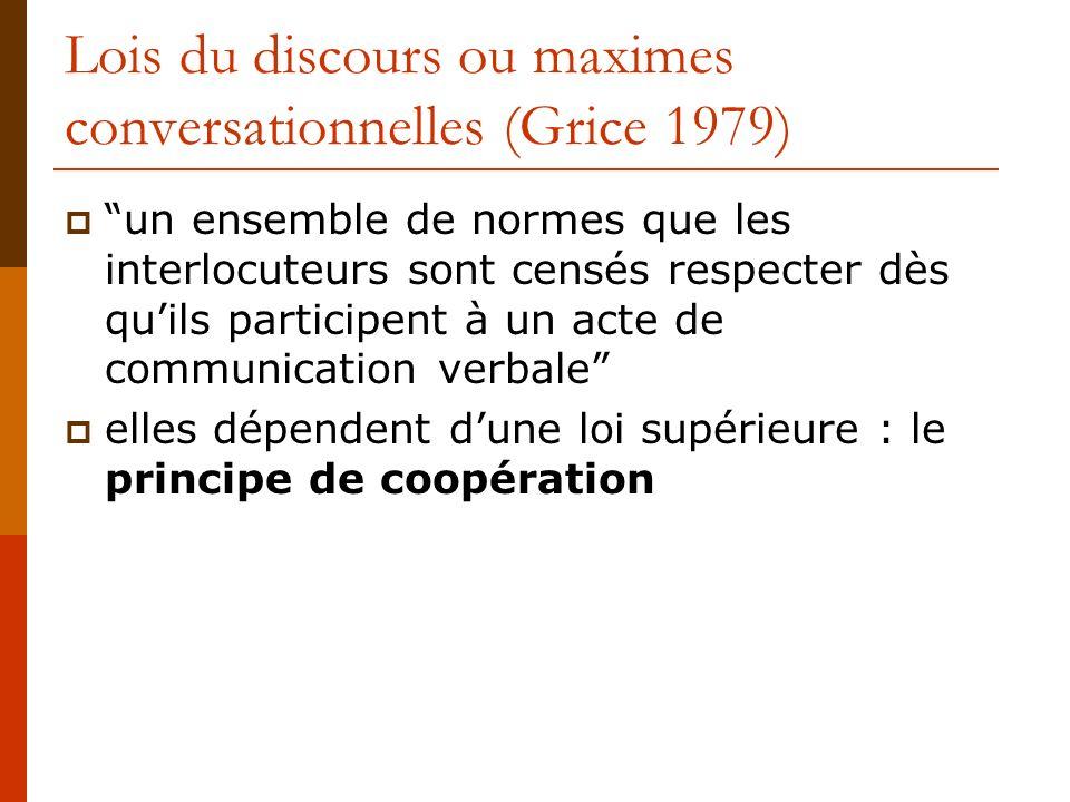 Lois du discours ou maximes conversationnelles (Grice 1979) un ensemble de normes que les interlocuteurs sont censés respecter dès quils participent à