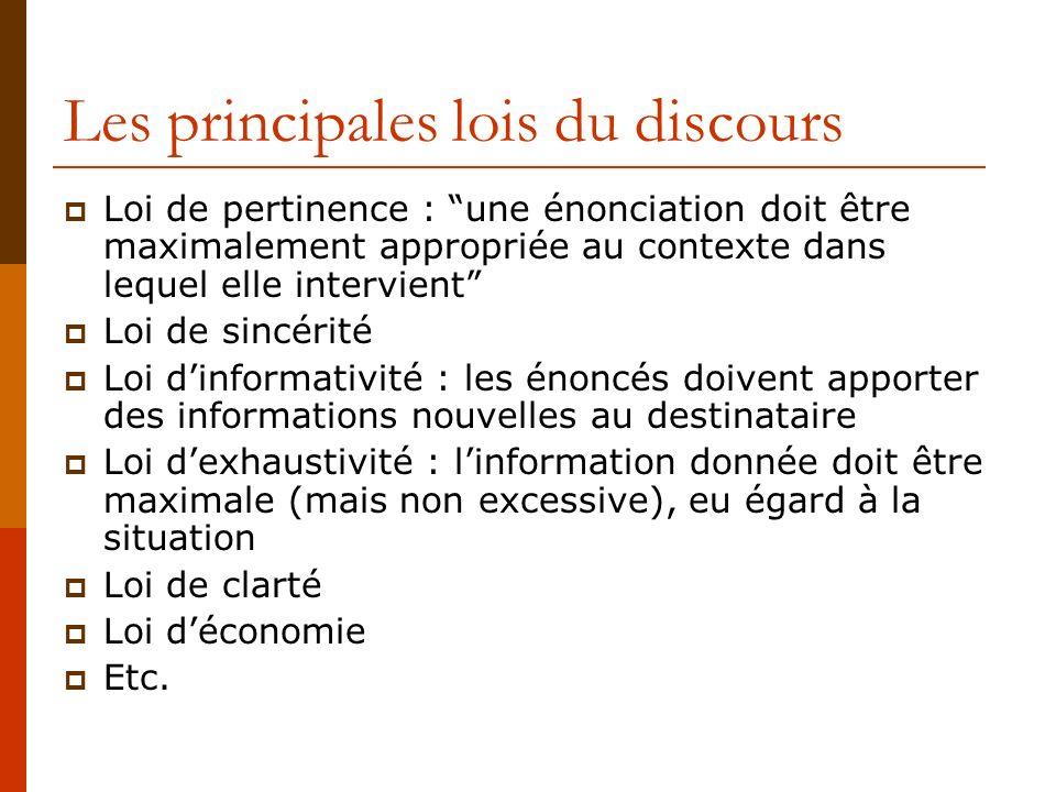 Les principales lois du discours Loi de pertinence : une énonciation doit être maximalement appropriée au contexte dans lequel elle intervient Loi de