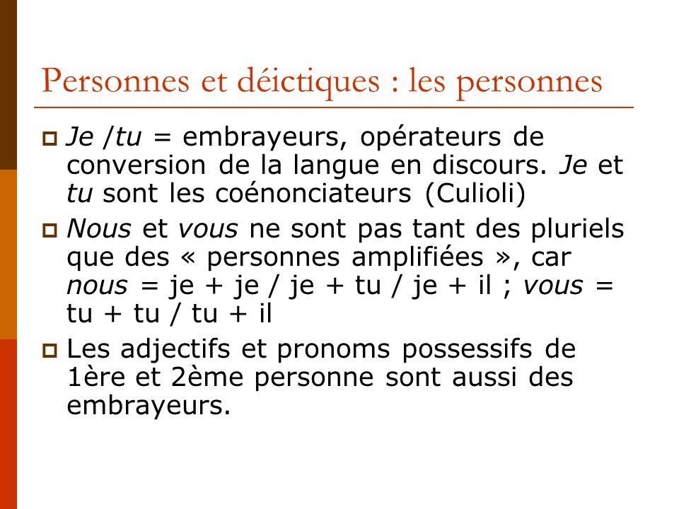Personnes et déictiques : les personnes Je /tu = embrayeurs, opérateurs de conversion de la langue en discours. Je et tu sont les coénonciateurs (Culi