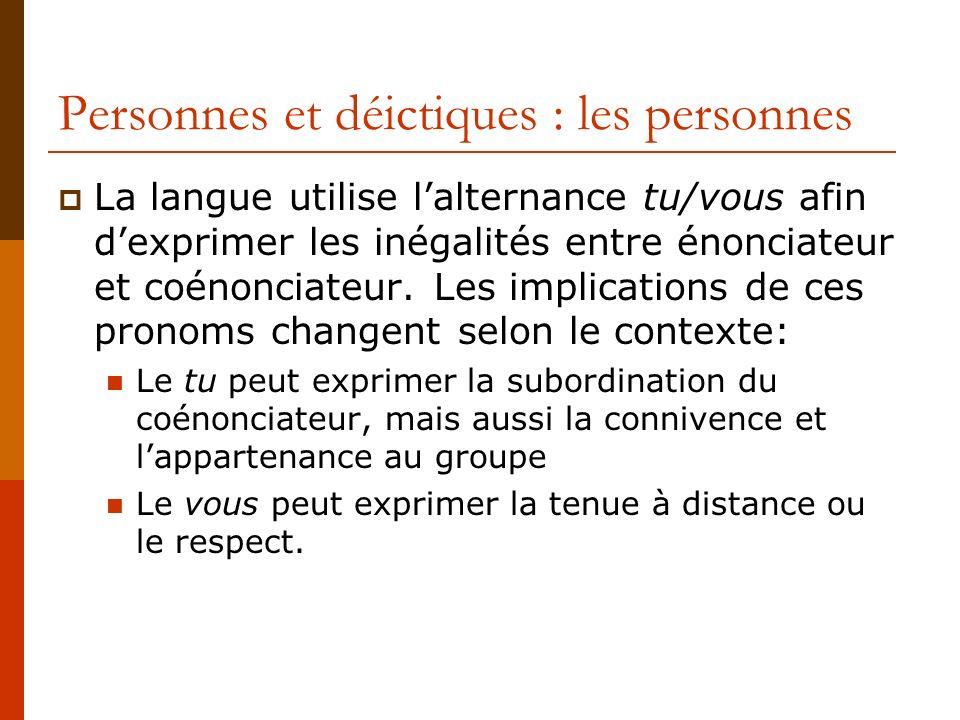 Personnes et déictiques : les personnes La langue utilise lalternance tu/vous afin dexprimer les inégalités entre énonciateur et coénonciateur. Les im