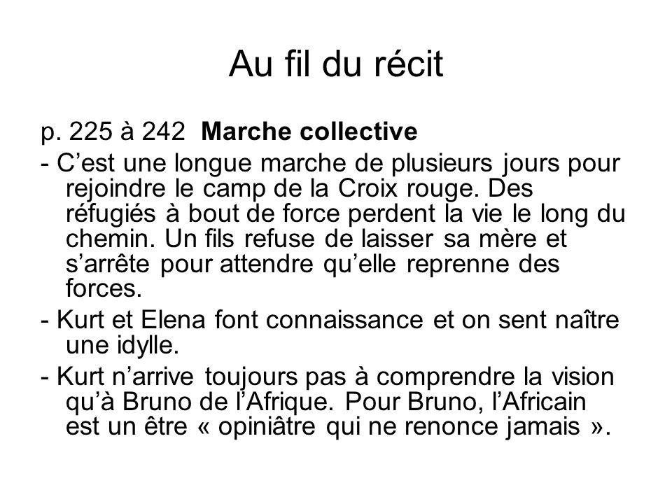 Au fil du récit p. 225 à 242 Marche collective - Cest une longue marche de plusieurs jours pour rejoindre le camp de la Croix rouge. Des réfugiés à bo