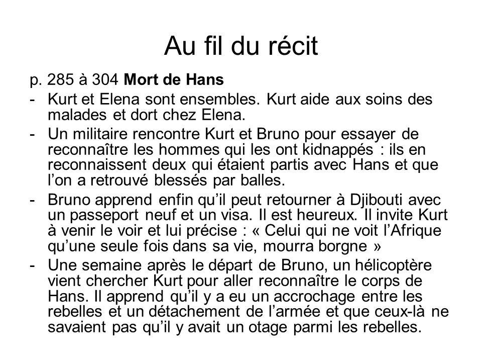 Au fil du récit p. 285 à 304 Mort de Hans -Kurt et Elena sont ensembles. Kurt aide aux soins des malades et dort chez Elena. -Un militaire rencontre K