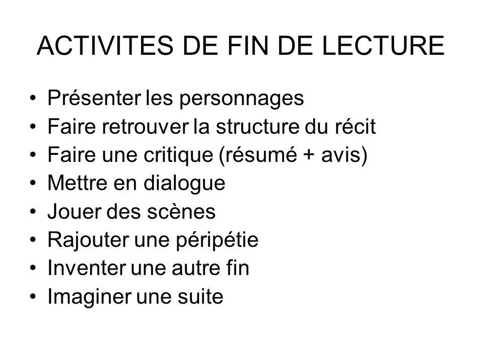 ACTIVITES DE FIN DE LECTURE Présenter les personnages Faire retrouver la structure du récit Faire une critique (résumé + avis) Mettre en dialogue Joue