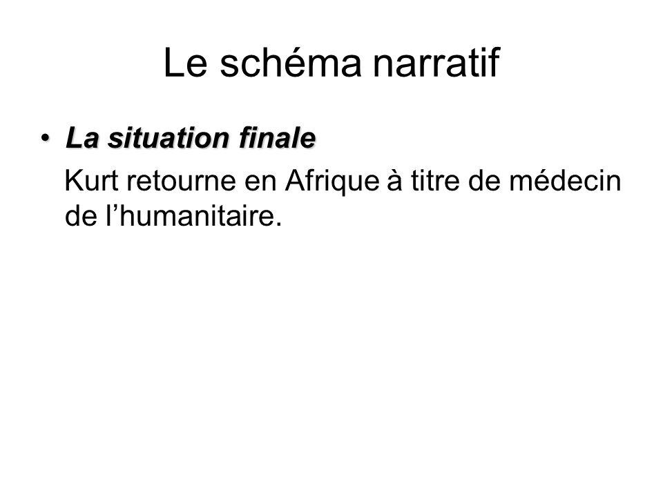 Le schéma narratif La situation finaleLa situation finale Kurt retourne en Afrique à titre de médecin de lhumanitaire.