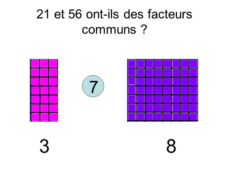 21 et 56 ont-ils des facteurs communs ? 7 3 8