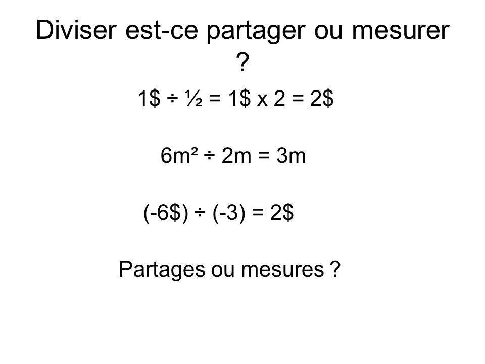 Diviser est-ce partager ou mesurer ? 1$ ÷ ½ = 1$ x 2 = 2$ 6m² ÷ 2m = 3m (-6$) ÷ (-3) = 2$ Partages ou mesures ?