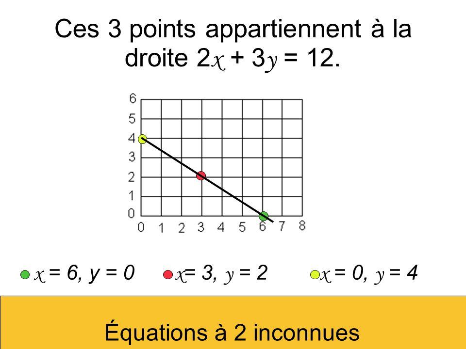 Ces 3 points appartiennent à la droite 2 x + 3 y = 12. x = 6, y = 0 x = 3, y = 2 x = 0, y = 4 Équations à 2 inconnues