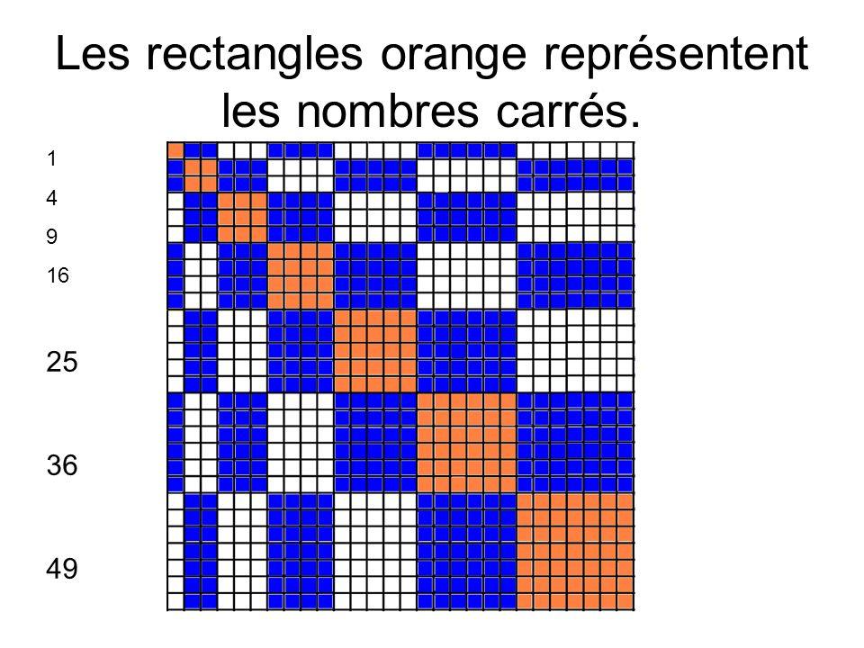 Les rectangles orange représentent les nombres carrés. 1 4 9 16 25 36 49