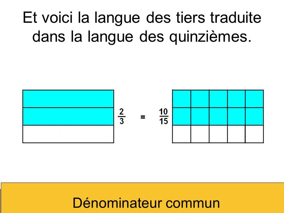 Et voici la langue des tiers traduite dans la langue des quinzièmes. Dénominateur commun
