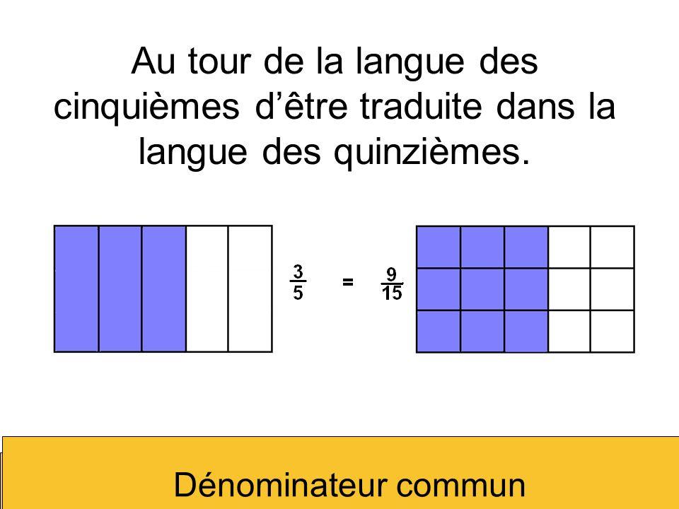 Au tour de la langue des cinquièmes dêtre traduite dans la langue des quinzièmes. Dénominateur commun