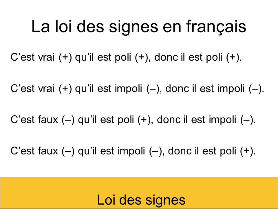 La loi des signes en français Cest vrai (+) quil est poli (+), donc il est poli (+). Cest vrai (+) quil est impoli (–), donc il est impoli (–). Cest f