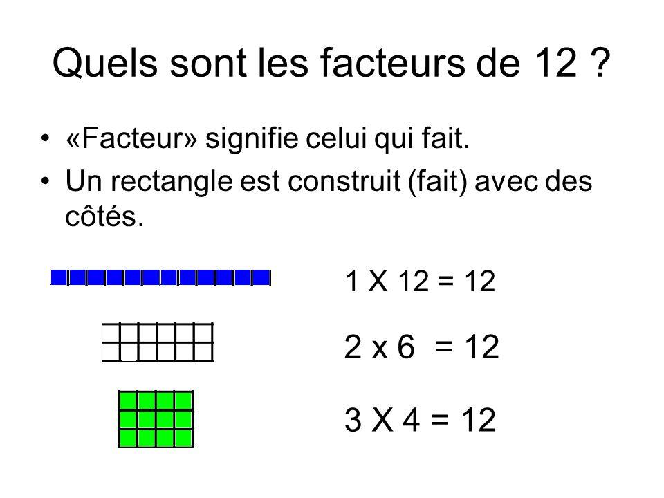 Quels sont les facteurs de 12 ? «Facteur» signifie celui qui fait. Un rectangle est construit (fait) avec des côtés. 1 X 12 = 12 2 x 6 = 12 3 X 4 = 12