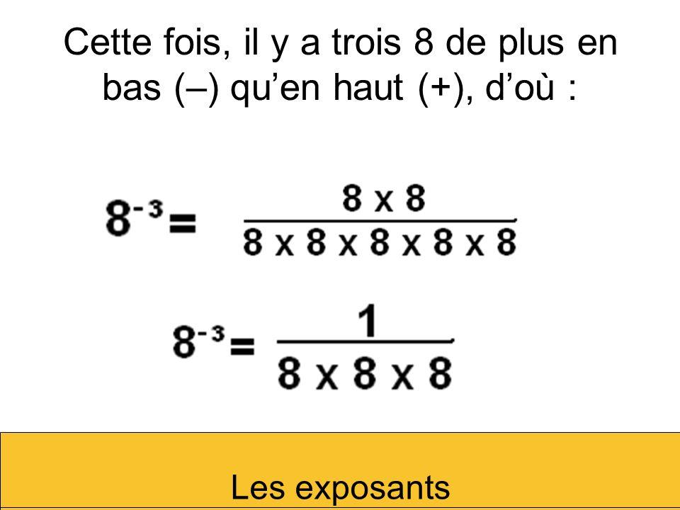 Cette fois, il y a trois 8 de plus en bas (–) quen haut (+), doù : Les exposants