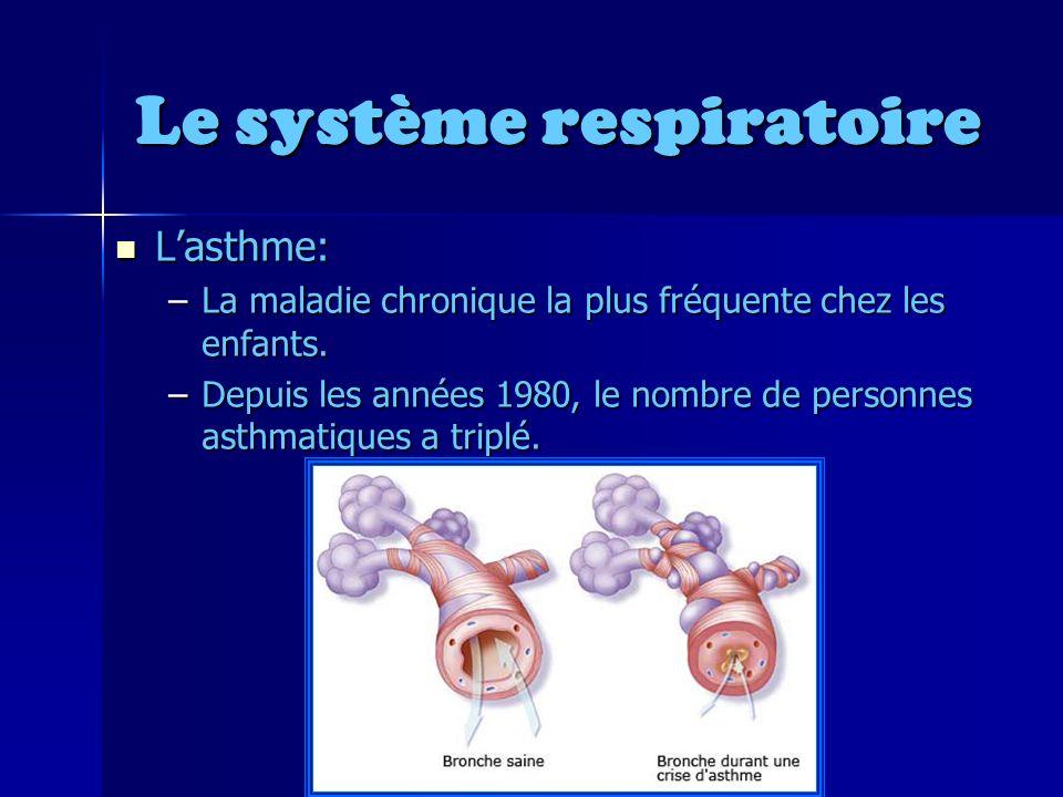 Le système respiratoire Lasthme: Lasthme: –La maladie chronique la plus fréquente chez les enfants.