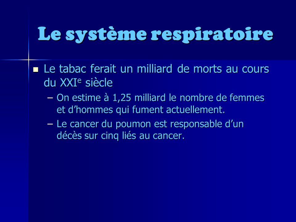 Le système respiratoire Le tabac ferait un milliard de morts au cours du XXI e siècle Le tabac ferait un milliard de morts au cours du XXI e siècle –On estime à 1,25 milliard le nombre de femmes et dhommes qui fument actuellement.