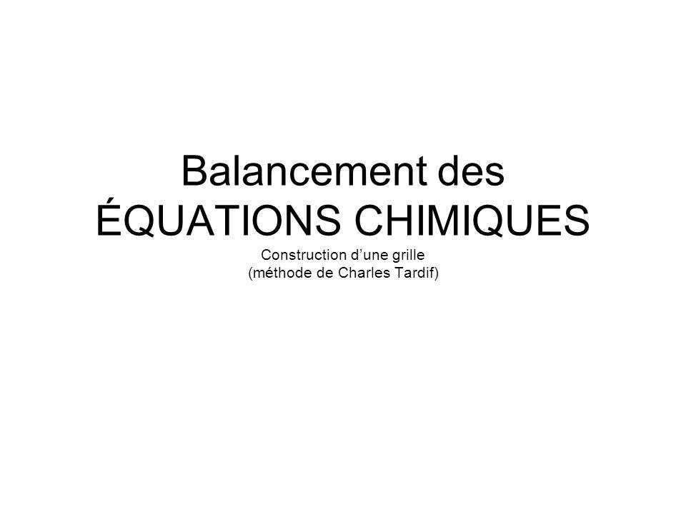Balancement des ÉQUATIONS CHIMIQUES Construction dune grille (méthode de Charles Tardif)