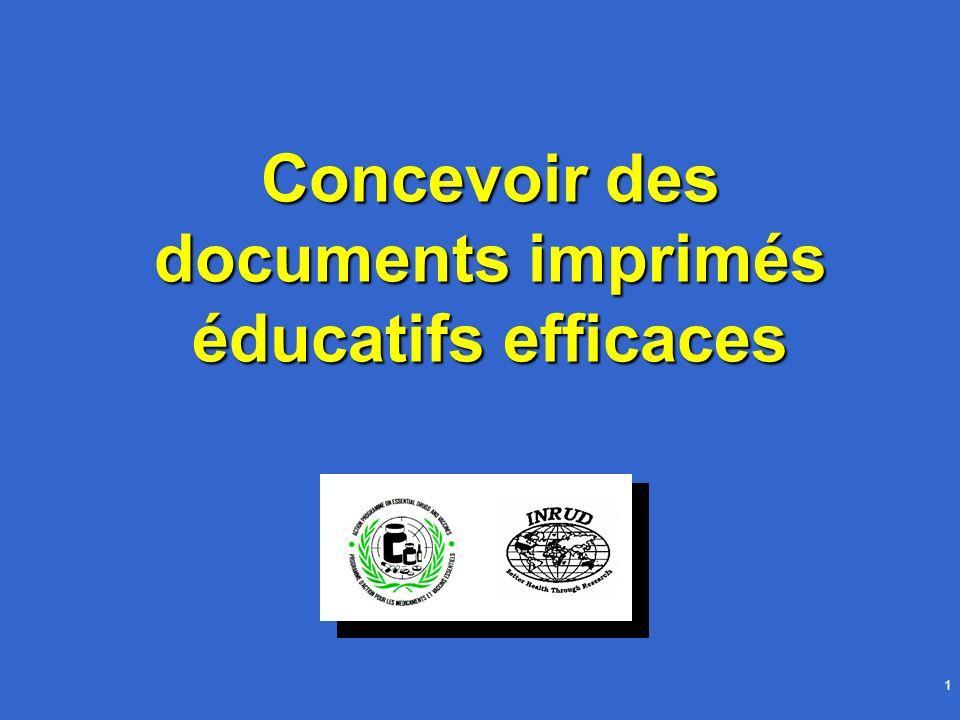 Concevoir des documents imprimés éducatifs efficaces42 Travaux dirigés 2 Conception de documents imprimés