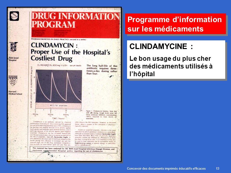 Concevoir des documents imprimés éducatifs efficaces13 Programme dinformation sur les médicaments CLINDAMYCINE : Le bon usage du plus cher des médicaments utilisés à lhôpital CLINDAMYCINE : Le bon usage du plus cher des médicaments utilisés à lhôpital