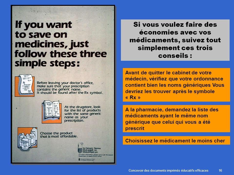 Concevoir des documents imprimés éducatifs efficaces16 Si vous voulez faire des économies avec vos médicaments, suivez tout simplement ces trois conse